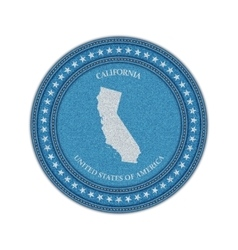 Label with map of california Denim style vector image