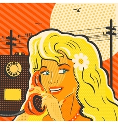 Pop Art Style Girl With Phone vector image vector image