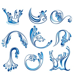 Set of water splashes vector image vector image