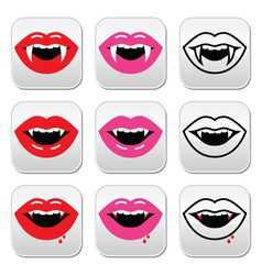 Vampire mouth vampire teeth buttons set vector image vector image