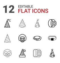 12 costume icons vector image
