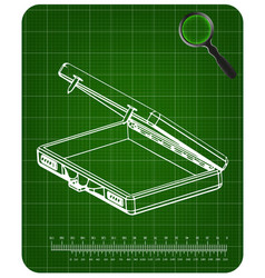 3d model suitcase on green vector image