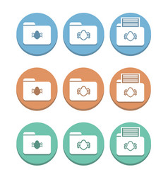 A set of folder icons with a virus of bug vector