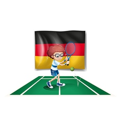 A tennis player with the flag of Germany vector image