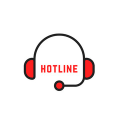 abstract simple thin line hotline logo vector image
