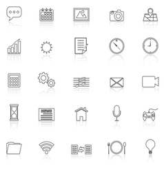 Application line icons with reflect on white vector