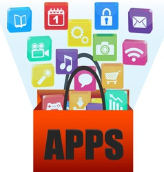 applications in a shopping bag vector image