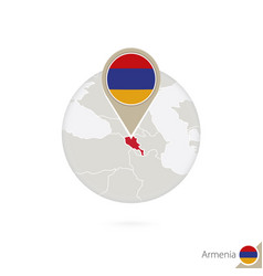 Armenia map and flag in circle map armenia vector