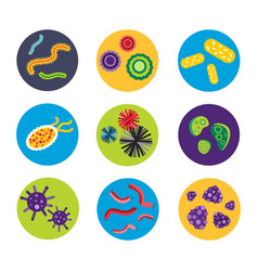bacteria virus microscopic isolated microbes icon vector image