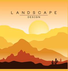 Beautiful peaceful desert landscape morning in vector