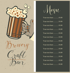 Beer menu with price list and beer glass in hand vector