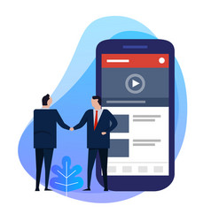 business man hand shaking deal agreement video vector image