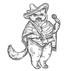 cat holding a maraca and dressed in poncho vector image
