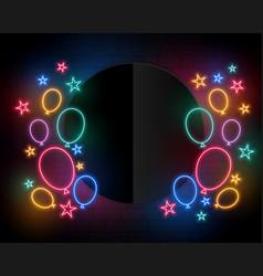 Celebration birthday balloons in neon style vector