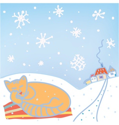 Christmas card with cat and snow vector image