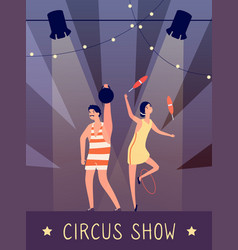 Circus show background strongman and juggler in vector