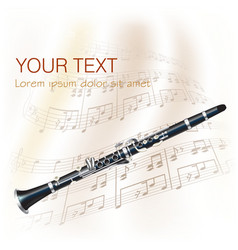 Classical clarinet with musical notes vector image