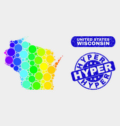 Colored mosaic wisconsin state map and scratched vector