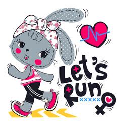 Cute cartoon rabbit girl running on street vector