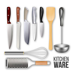 different knives and cook kitchen ware set vector image