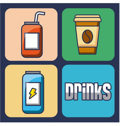 Drinks energy coffee soda beverage set of icons vector