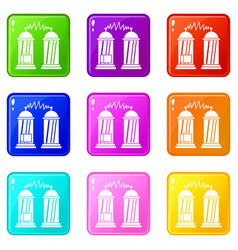 Electrical impulses icons 9 set vector