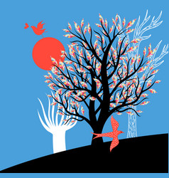 enamored birds and trees vector image