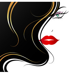 face of a beautiful girl with golden curls hair vector image
