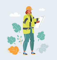 female engineer worker with plan on white vector image