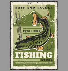 fishing store fisher baits and fish tackles vector image
