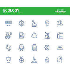 flat line icons design-ecology vector image