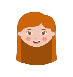 front face girl with long hair vector image