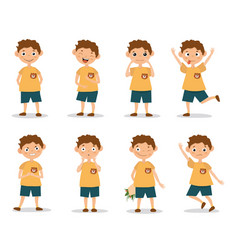 funny kid boy emotion expressions vector image