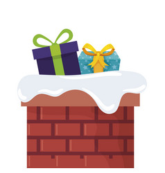 Gift boxes in chimney isolated icon vector