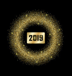 Glitter frame with 2019 sign vector