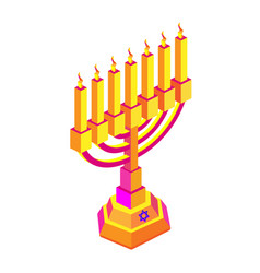 golden isometry hanukkah with candles or menorah vector image