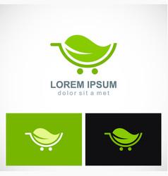 Green leaf organic cart logo vector