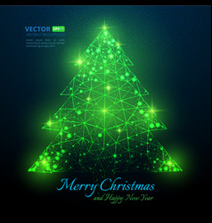green polygonal christmas tree with text for merr vector image