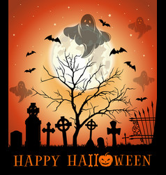 Halloween design greeting card with haunted vector