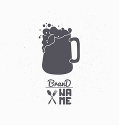 Hand drawn silhouette of beer mug vector