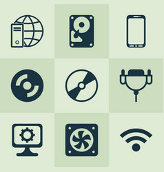 hardware icons set with wifi global connection vector image