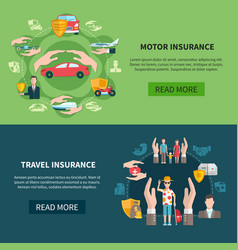 Insurance horizontal banners vector
