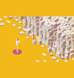 Isometric full color outline mess paper work vector