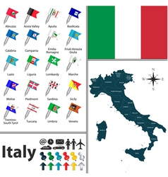 Italy map with flags vector