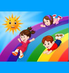 Kids sliding on rainbow in sky vector