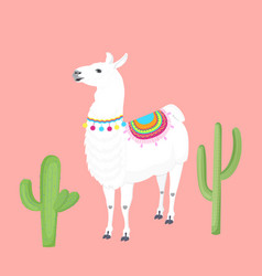 Lamma with a cape on the back cacti cactus vector