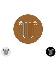 Linear style column or lira logo vector image