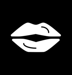 Lips simple icon black and white vector