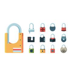 lock set padlock key prison secret code door vector image