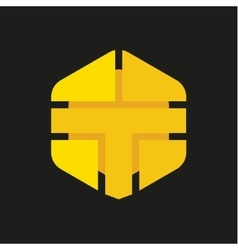 Logo Letter T in the form of abstraction yellow vector image